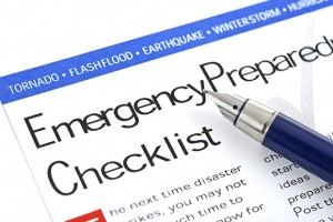 "fountain pen lying on "" Emergency Preparedness Checklist "" form"